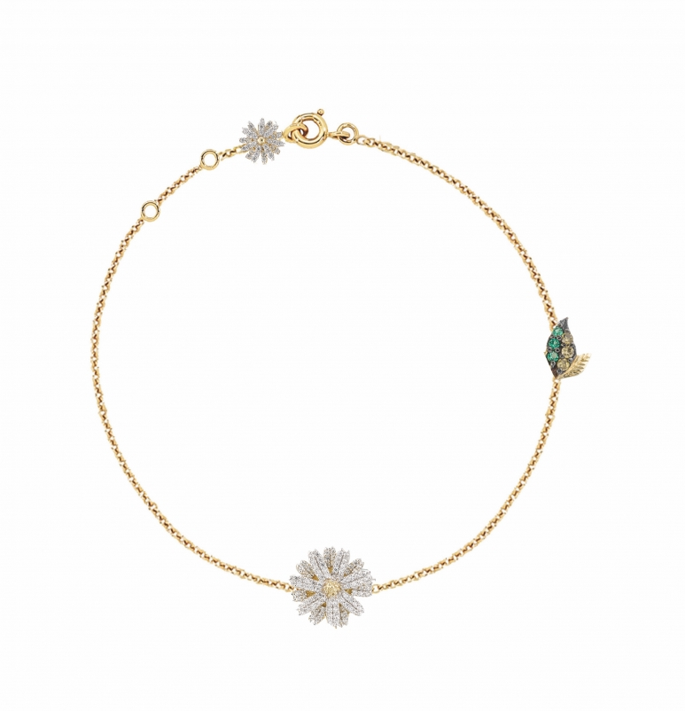 AnbelaChan_Daisy Bracelet_01_14ct yellow gold chain bracelet, with yellow gold and rhodium vermeil daisy charms, intricately hand set with laboratory-grown created white diamonds, emeralds and peridots.jpg