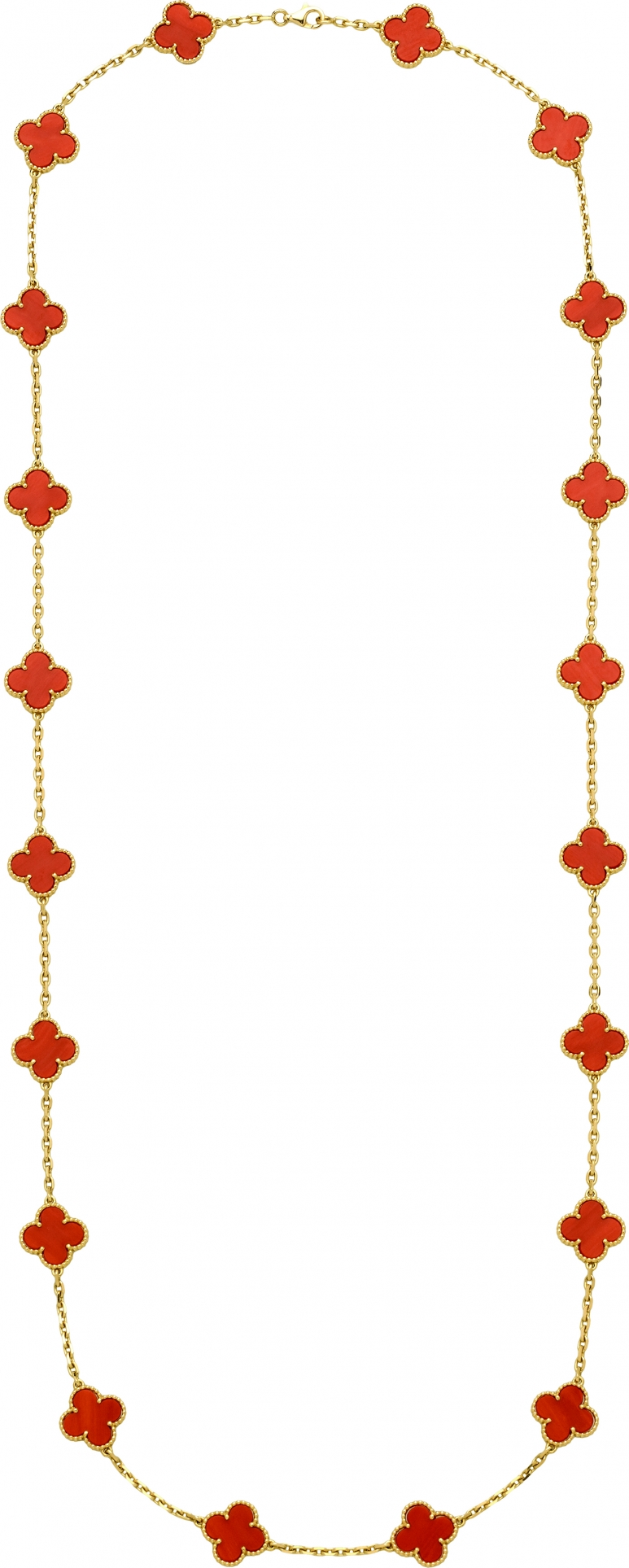 VCA_VINTAGE ALHAMBRA 20-MOTIF LONG NECKLACE , YELLOW GOLD, CORAL_467884 copy.jpg