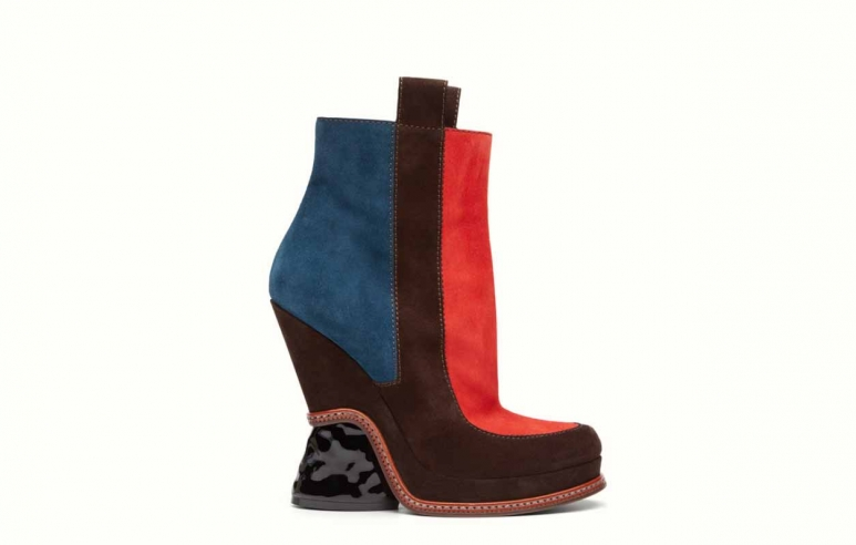 <strong>Fashion Show Boots</strong>&lt;p&gt;Multicolor coffee brown suede leather ankle boots with round toe, characterised geometric color blocking in petrol blue and red. The wedge is partly lined in suede, with contrasting stitching and a sculpted patent black heel. Side zipper.&amp;nbsp;Made in Italy.&amp;nbsp;This fashionable boots made out of 100%Calf Leather and 100%Patent Calf Leather&lt;/p&gt;<div>$1.000</div><div></div>