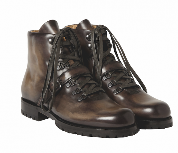 "<strong>Berluti Brunico Venezia Leather Boots</strong><p><a href=""berluti.com"">Berluti</a> has been in the business of crafting bespoke footwear since 1895, and these shoes are based on a design that was originally made as a customised ski boot. The details that have been carried into this new version - including the strap across the front and rubber soles - give them a handsome, sturdy finish. They have been crafted in Italy using the firm's signature Venezia leather, and each boot is hand-polished for a unique mottled finish.</p><div></div><div></div>"