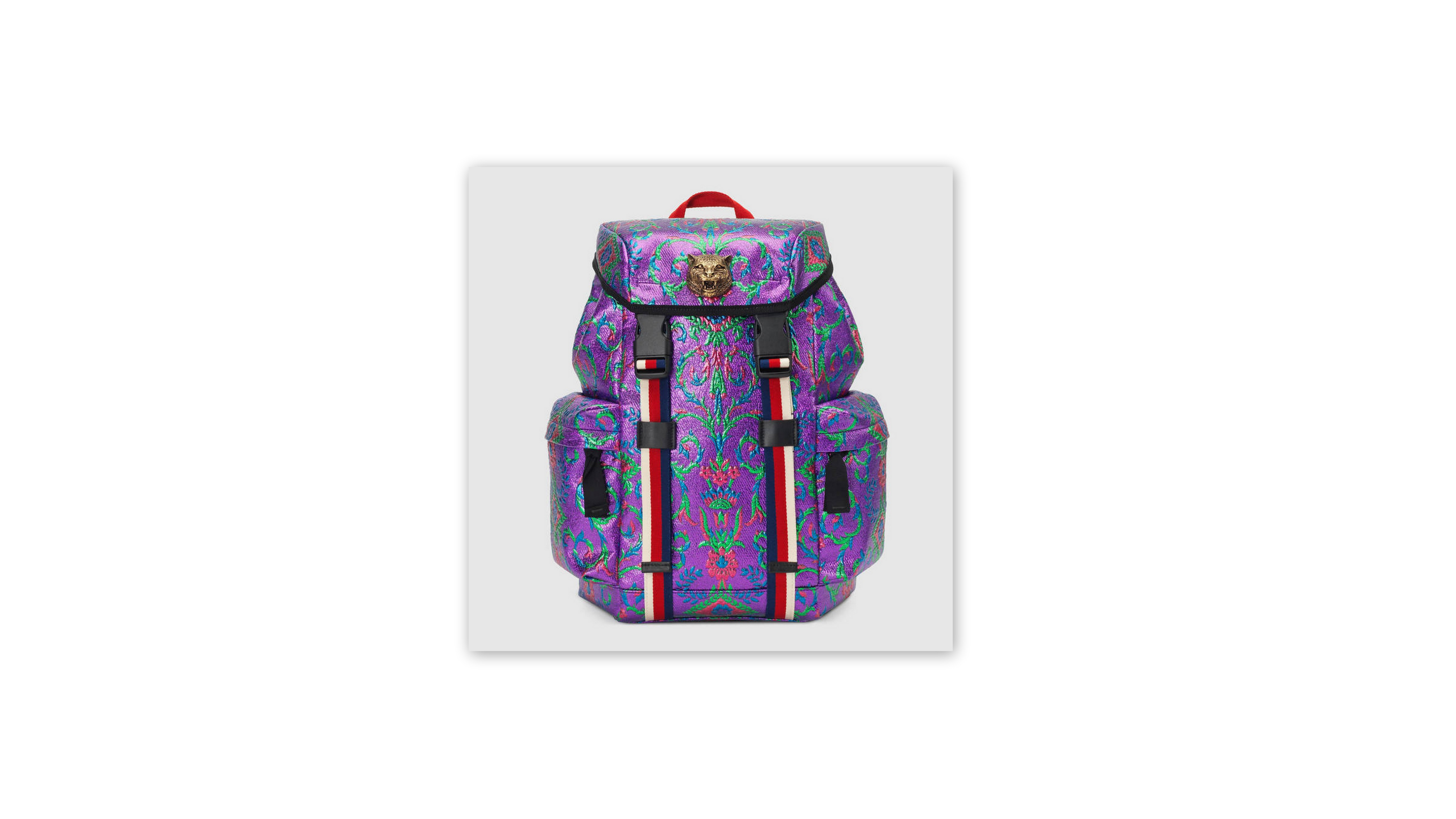 00ebd589a5f486 A shrink down version of the men's techpack, made in a multicolor brocade  with web detailing. This adorable Gucci backpack from the spring/summer  2017 will ...